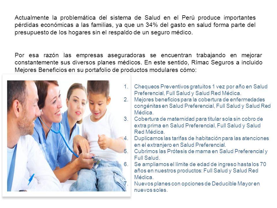 Actualmente la problemática del sistema de Salud en el Perú produce importantes pérdidas económicas a las familias, ya que un 34% del gasto en salud f