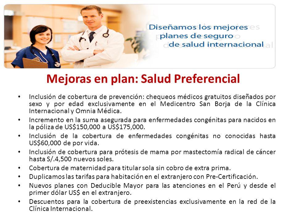 Mejoras en plan: Full Salud Inclusión de cobertura de prevención: chequeos médicos gratuitos diseñados por sexo y por edad exclusivamente en el Medicentro San Borja de la Clínica Internacional y Omnia Médica.