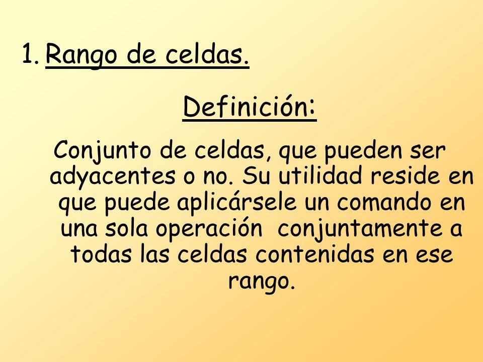 1.Rango de celdas. Definición : Conjunto de celdas, que pueden ser adyacentes o no.