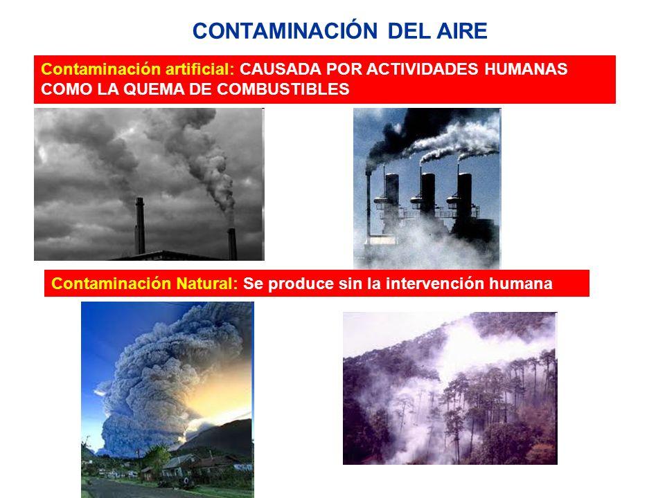 Contaminación artificial: CAUSADA POR ACTIVIDADES HUMANAS COMO LA QUEMA DE COMBUSTIBLES CONTAMINACIÓN DEL AIRE Contaminación Natural: Se produce sin l