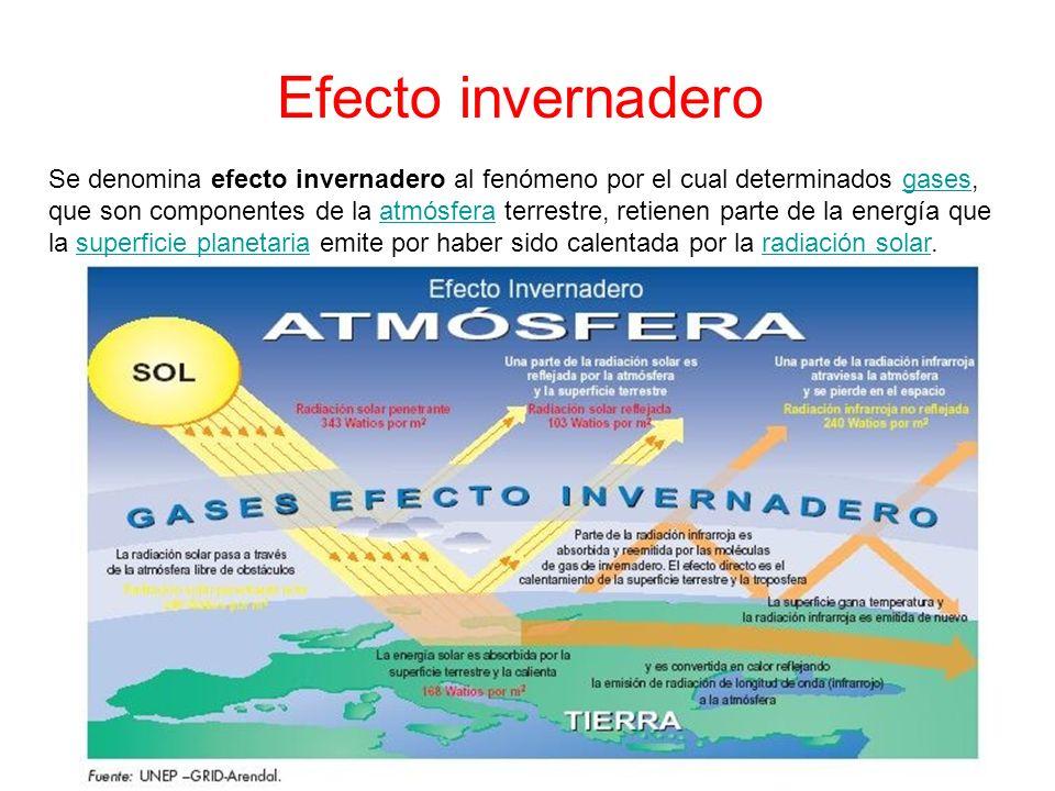 Efecto invernadero Se denomina efecto invernadero al fenómeno por el cual determinados gases, que son componentes de la atmósfera terrestre, retienen