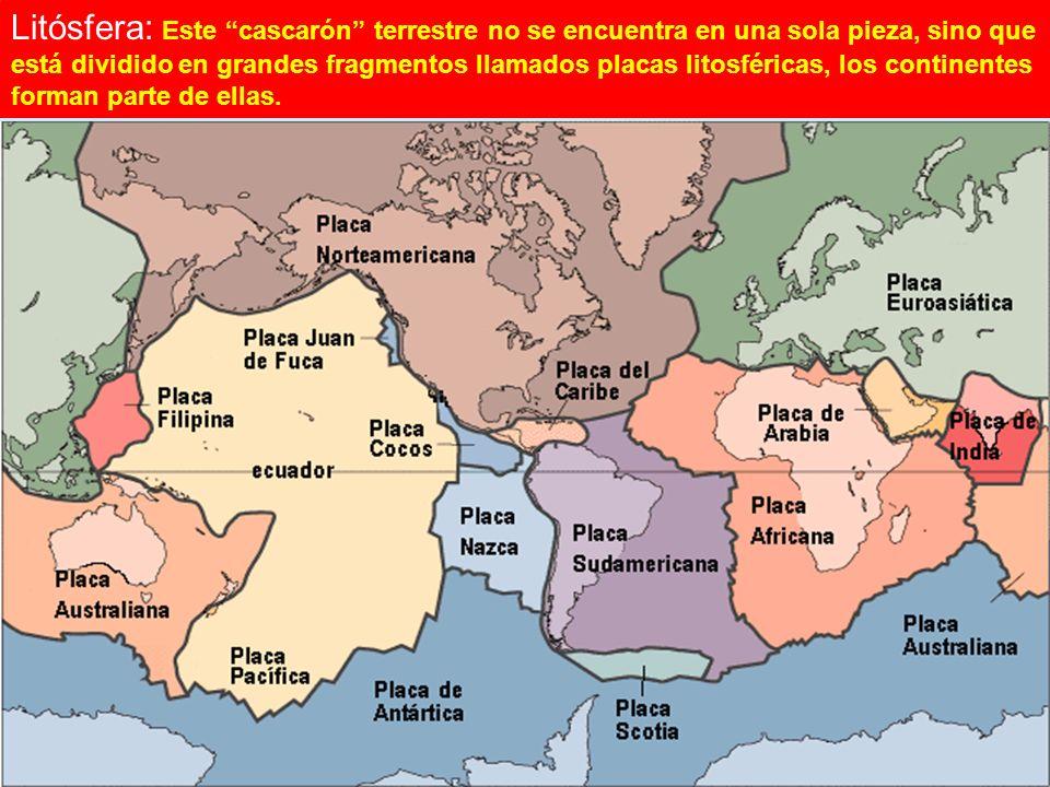 TECTÓNICA DE PLACAS Litósfera: Este cascarón terrestre no se encuentra en una sola pieza, sino que está dividido en grandes fragmentos llamados placas