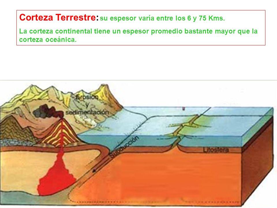 Corteza Terrestre: su espesor varía entre los 6 y 75 Kms. La corteza continental tiene un espesor promedio bastante mayor que la corteza oceánica.