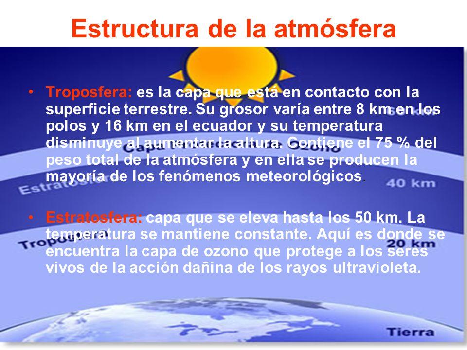 Estructura de la atmósfera Troposfera: es la capa que está en contacto con la superficie terrestre. Su grosor varía entre 8 km en los polos y 16 km en