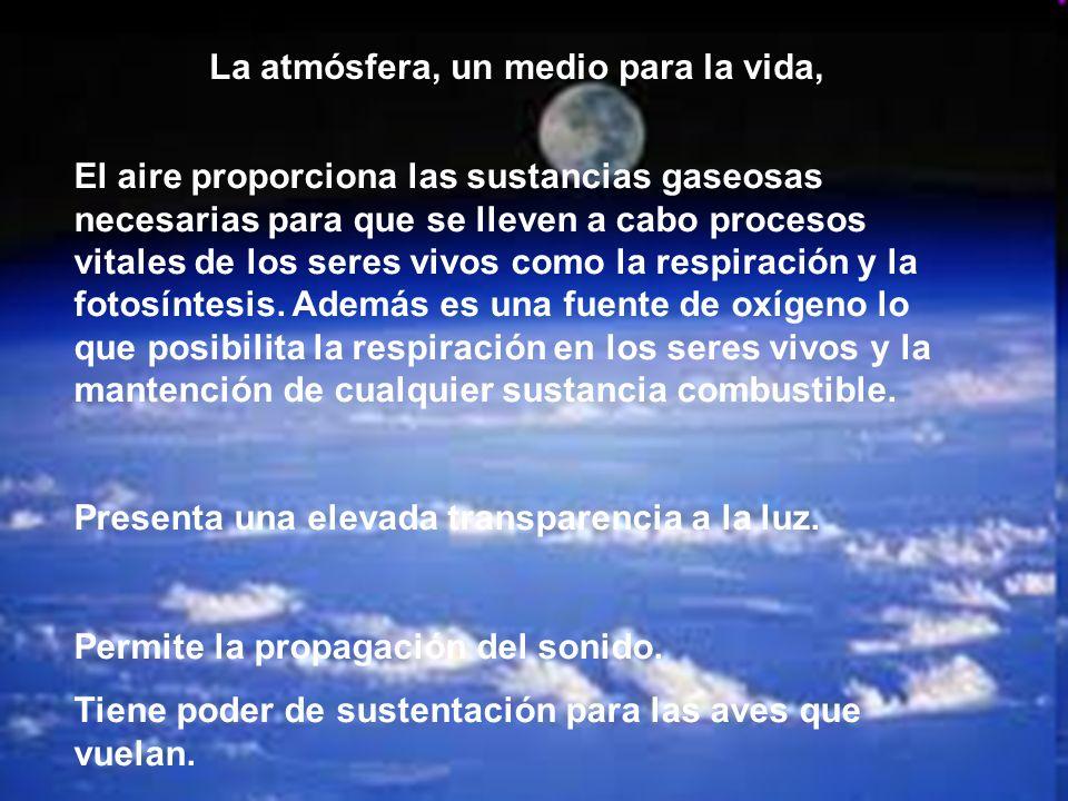 La atmósfera, un medio para la vida, El aire proporciona las sustancias gaseosas necesarias para que se lleven a cabo procesos vitales de los seres vi