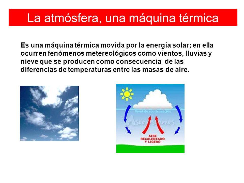 La atmósfera, una máquina térmica Es una máquina térmica movida por la energía solar; en ella ocurren fenómenos metereológicos como vientos, lluvias y