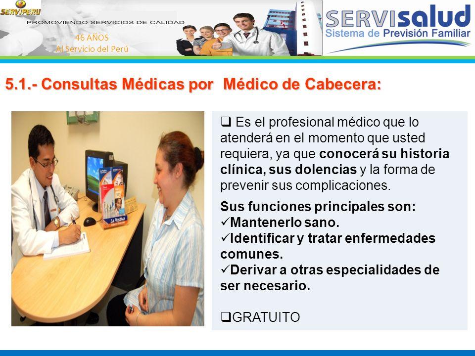 46 AÑOS Al Servicio del Perú 5.1.- Consultas Médicas por Médico de Cabecera: Es el profesional médico que lo atenderá en el momento que usted requiera
