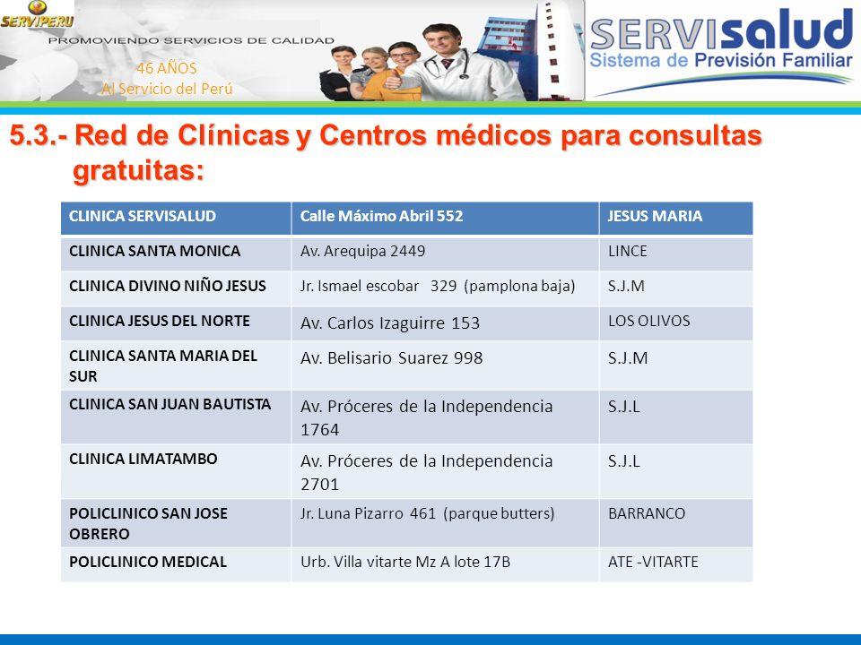 46 AÑOS Al Servicio del Perú 5.3.- Red de Clínicas y Centros médicos para consultas gratuitas: gratuitas: CLINICA SERVISALUDCalle Máximo Abril 552JESU