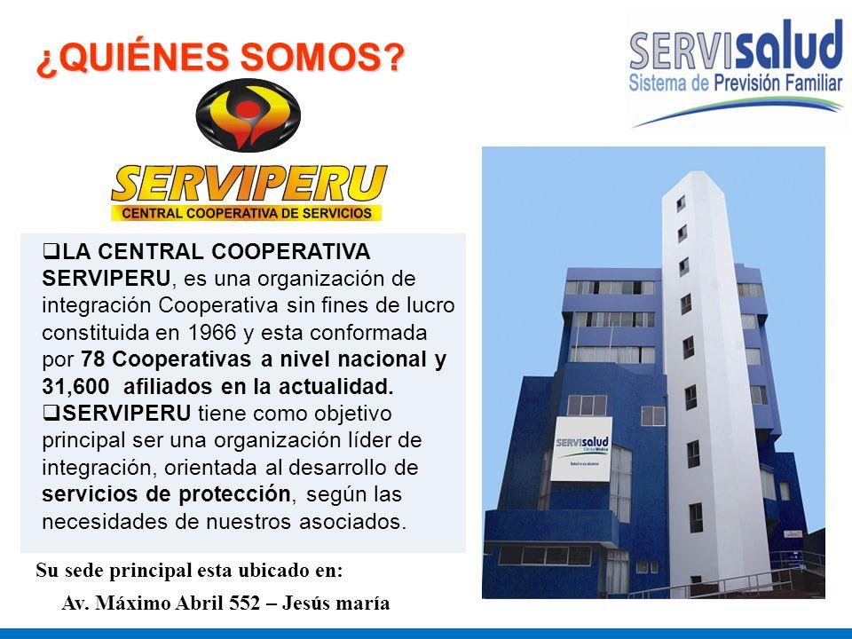 ¿QUIÉNES SOMOS? LA CENTRAL COOPERATIVA SERVIPERU, es una organización de integración Cooperativa sin fines de lucro constituida en 1966 y esta conform