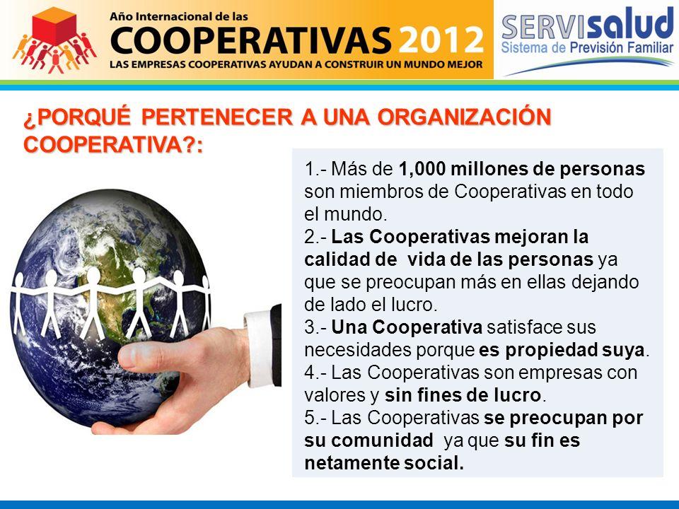 ¿PORQUÉ PERTENECER A UNA ORGANIZACIÓN COOPERATIVA?: 1.- Más de 1,000 millones de personas son miembros de Cooperativas en todo el mundo. 2.- Las Coope