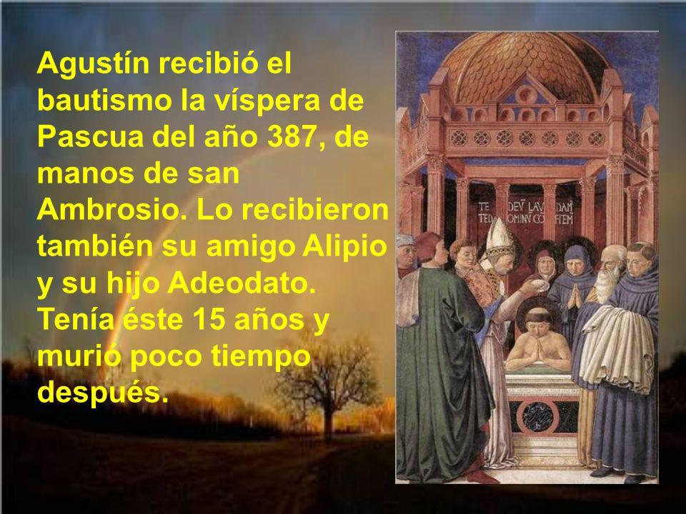 Agustín renunció al profesorado y se trasladó a una casa de campo, prestada por un amigo, en Casiciano, cerca de Milán. Allí estuvo con su madre, su h