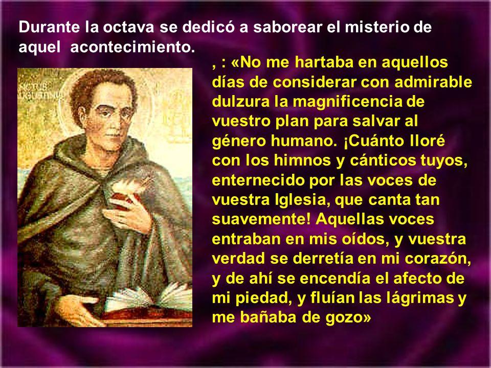 Agustín recibió el bautismo la víspera de Pascua del año 387, de manos de san Ambrosio. Lo recibieron también su amigo Alipio y su hijo Adeodato. Tení