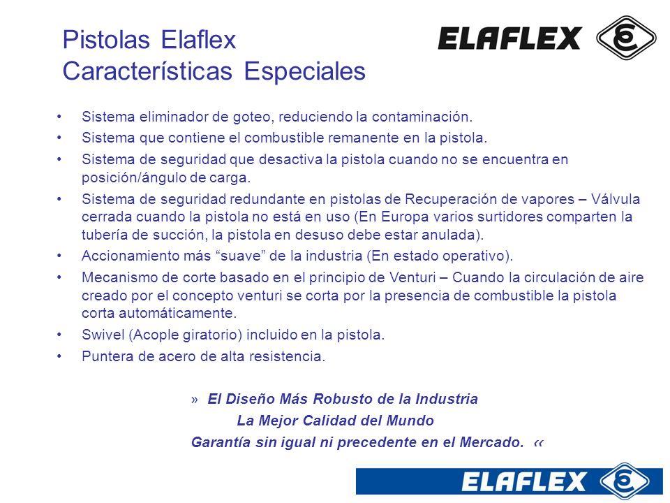Pistolas Elaflex Características Especiales Sistema eliminador de goteo, reduciendo la contaminación. Sistema que contiene el combustible remanente en