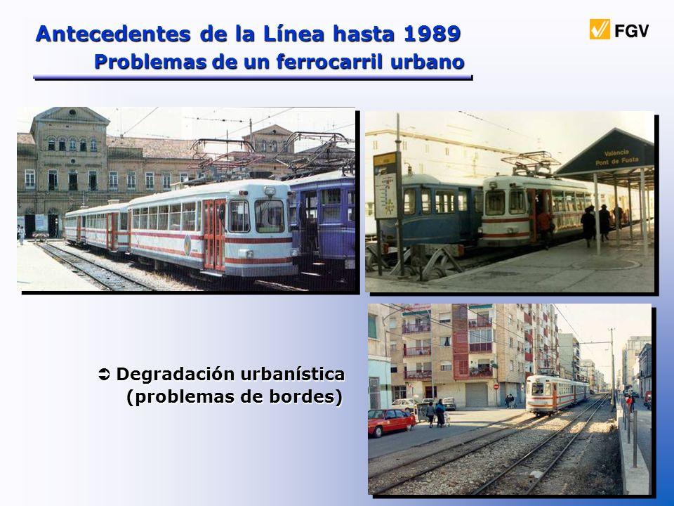 Antecedentes de la Línea hasta 1989 Problemas de un ferrocarril urbano Degradación urbanística Degradación urbanística (problemas de bordes) (problema