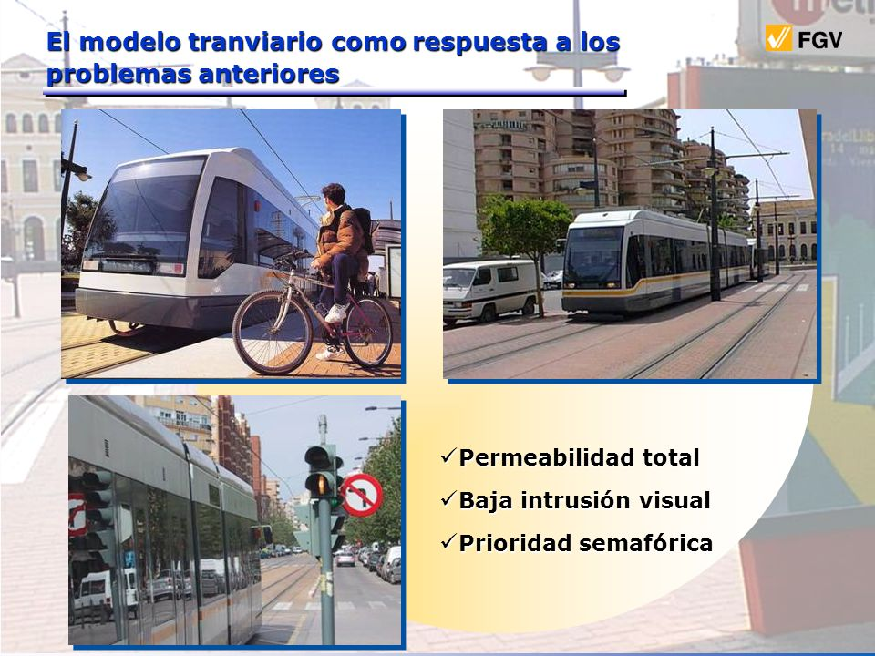 Permeabilidad total Permeabilidad total Baja intrusión visual Baja intrusión visual Prioridad semafórica Prioridad semafórica El modelo tranviario com