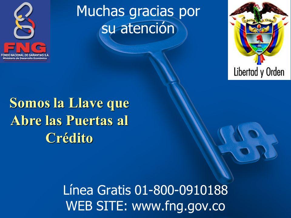 Línea Gratis 01-800-0910188 WEB SITE: www.fng.gov.co Somos la Llave que Abre las Puertas al Crédito Muchas gracias por su atención