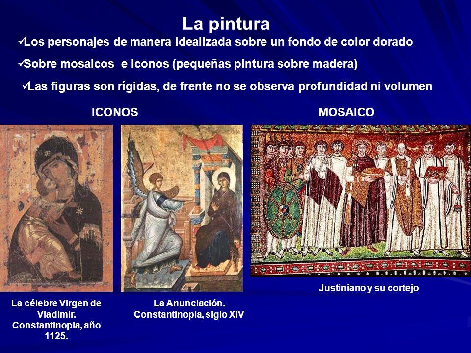 La pintura Los personajes de manera idealizada sobre un fondo de color dorado Sobre mosaicos e iconos (pequeñas pintura sobre madera) Las figuras son