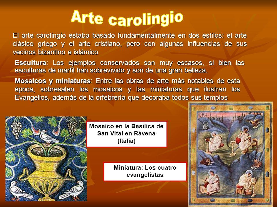 El arte carolingio estaba basado fundamentalmente en dos estilos: el arte clásico griego y el arte cristiano, pero con algunas influencias de sus veci