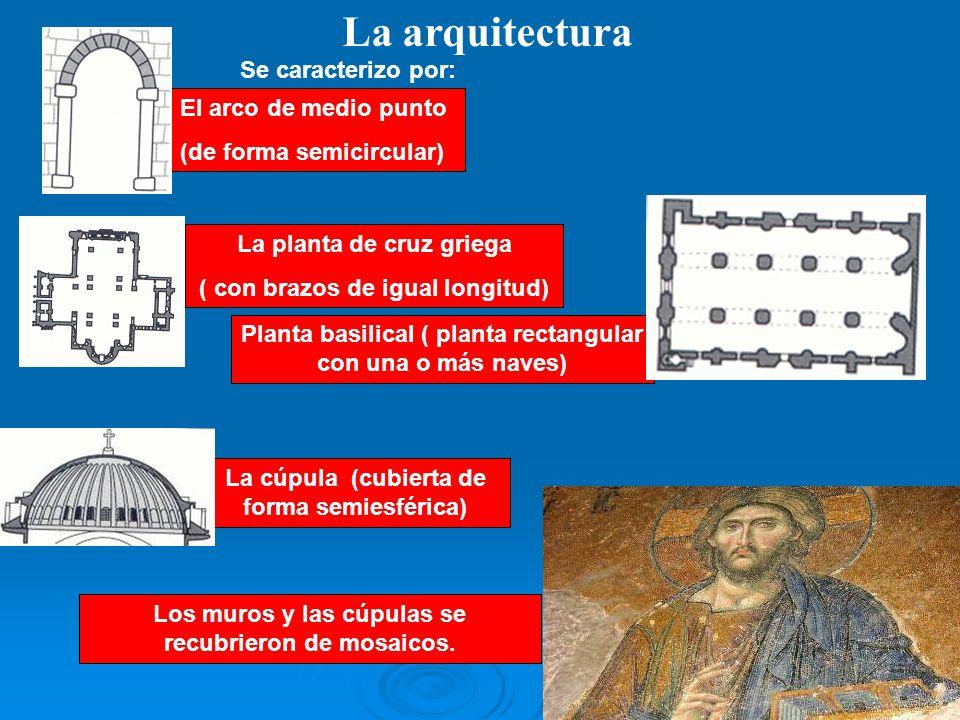 La arquitectura Se caracterizo por: El arco de medio punto (de forma semicircular) La planta de cruz griega ( con brazos de igual longitud) Planta bas