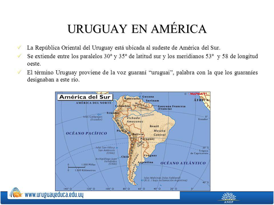 URUGUAY EN AMÉRICA La República Oriental del Uruguay está ubicada al sudeste de América del Sur. La República Oriental del Uruguay está ubicada al sud