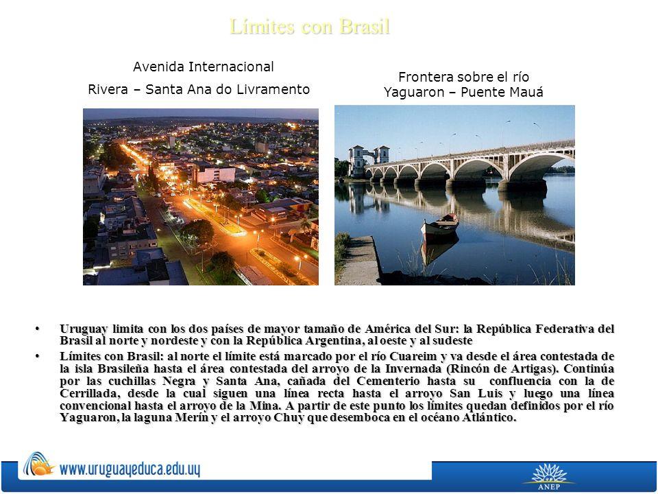 Límites con Brasil Uruguay limita con los dos países de mayor tamaño de América del Sur: la República Federativa del Brasil al norte y nordeste y con