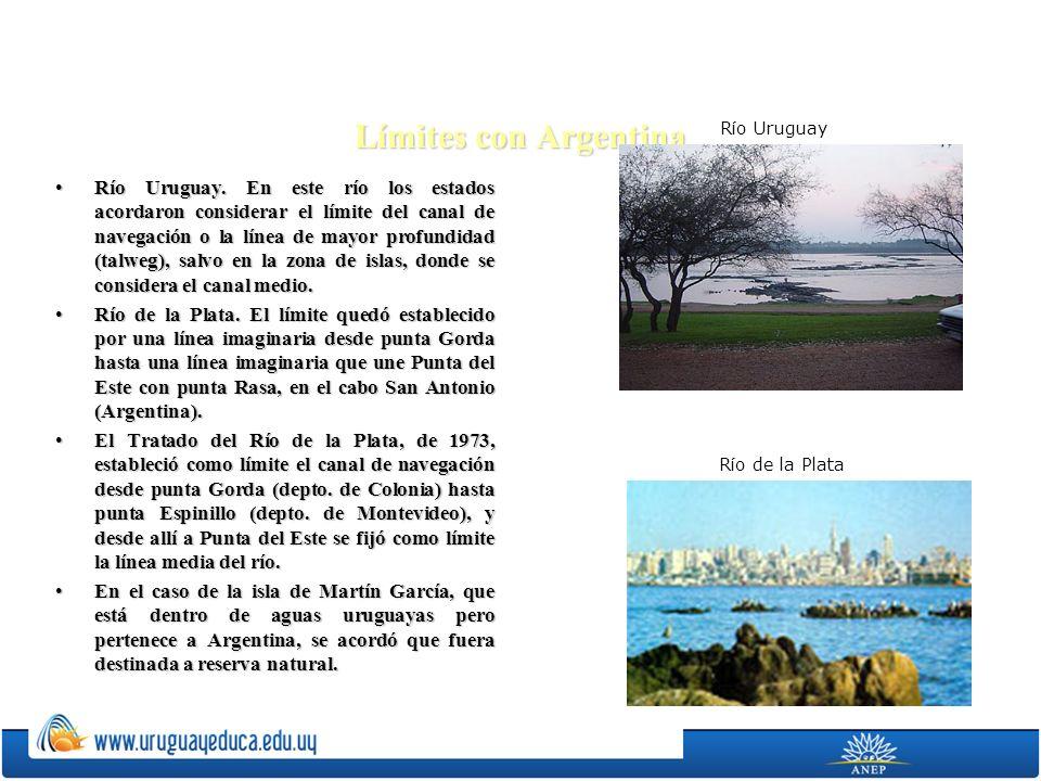 Límites con Argentina Río Uruguay. En este río los estados acordaron considerar el límite del canal de navegación o la línea de mayor profundidad (tal