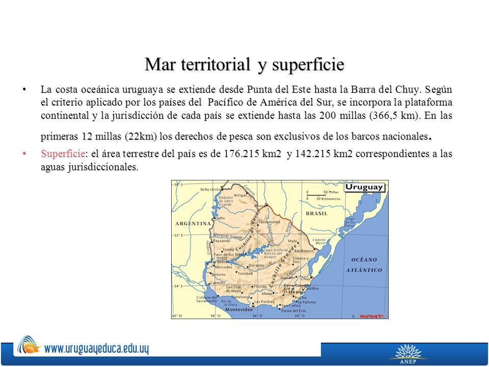 Mar territorial y superficie La costa oceánica uruguaya se extiende desde Punta del Este hasta la Barra del Chuy. Según el criterio aplicado por los p