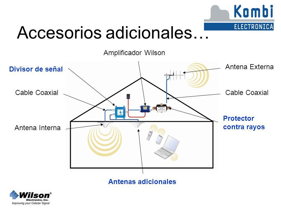 Accesorios adicionales… Antena Externa Cable Coaxial Amplificador Wilson Cable Coaxial Antena Interna Divisor de señal Protector contra rayos Antenas adicionales