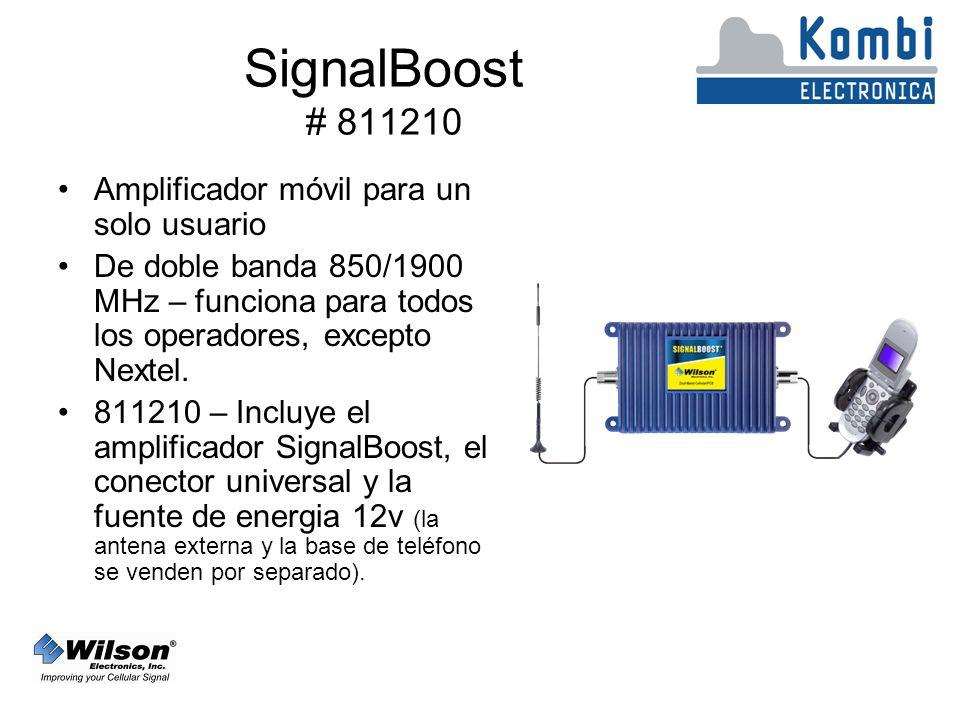 SignalBoost # 811210 Amplificador móvil para un solo usuario De doble banda 850/1900 MHz – funciona para todos los operadores, excepto Nextel.