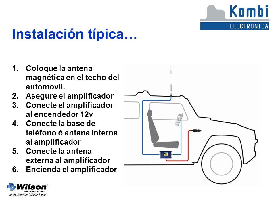 Instalación típica… 1.Coloque la antena magnética en el techo del automovil.