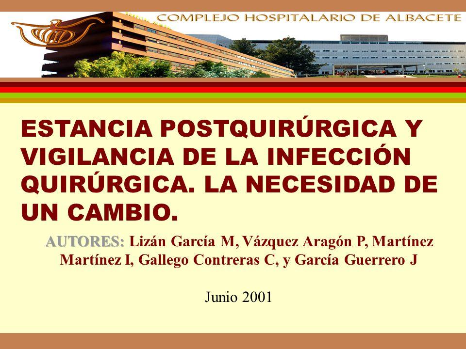 INTRODUCCIÓN l En 1995 se puso en marcha en el Complejo Hospitalario de Albacete un Sistema de Vigilancia de Infección Hospitalaria: Area Quirúrgica: Prospectivamente se monitorizan procedimientos quirúrgicos seleccionados, con estancias superiores a 48 h.