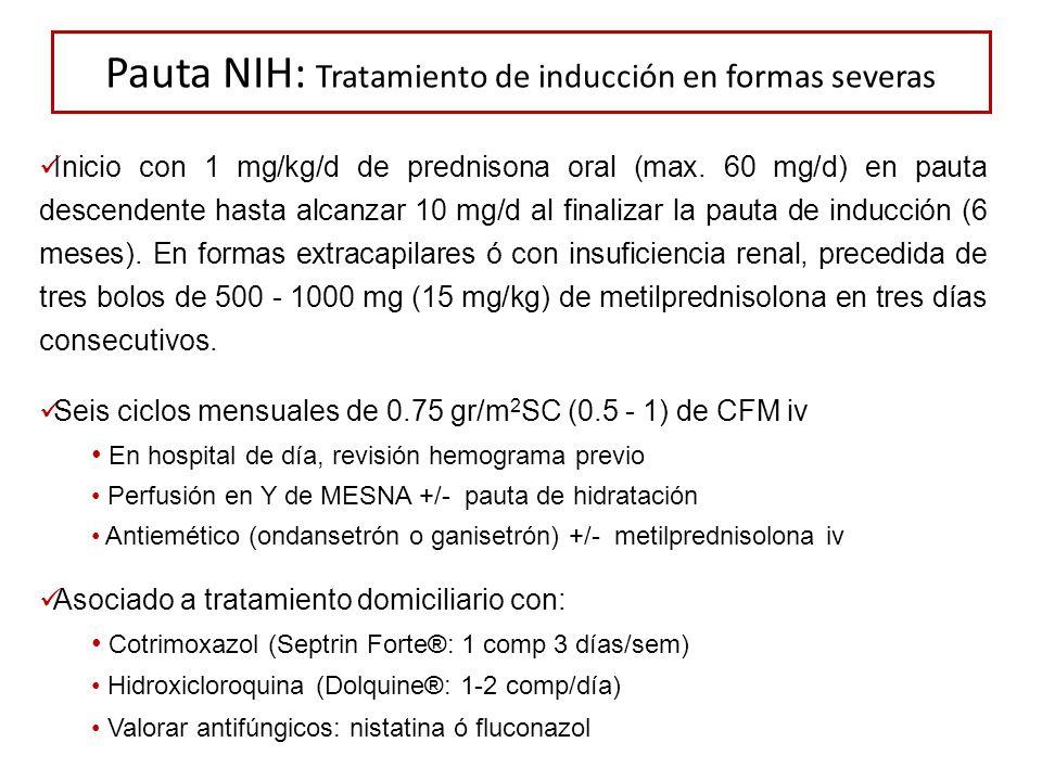 Pauta NIH: Tratamiento de inducción en formas severas Inicio con 1 mg/kg/d de prednisona oral (max. 60 mg/d) en pauta descendente hasta alcanzar 10 mg