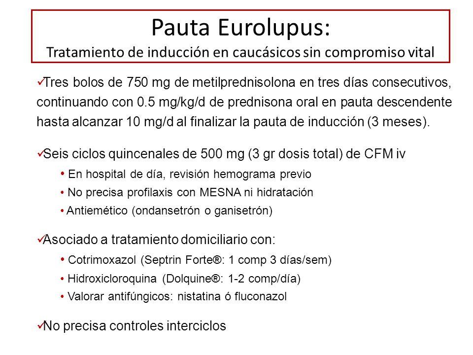 Pauta Eurolupus: Tratamiento de inducción en caucásicos sin compromiso vital Tres bolos de 750 mg de metilprednisolona en tres días consecutivos, cont