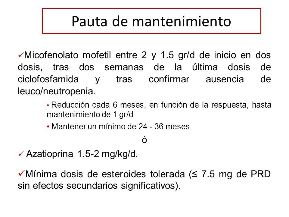 Pauta de mantenimiento Micofenolato mofetil entre 2 y 1.5 gr/d de inicio en dos dosis, tras dos semanas de la última dosis de ciclofosfamida y tras co