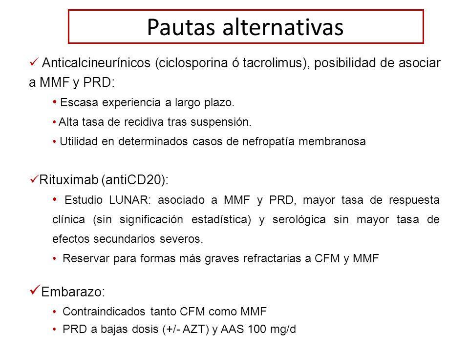 Pautas alternativas Anticalcineurínicos (ciclosporina ó tacrolimus), posibilidad de asociar a MMF y PRD: Escasa experiencia a largo plazo. Alta tasa d