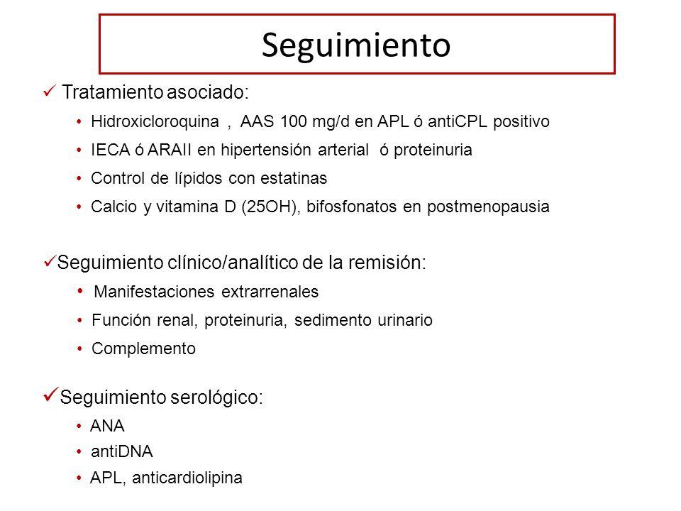 Seguimiento Tratamiento asociado: Hidroxicloroquina, AAS 100 mg/d en APL ó antiCPL positivo IECA ó ARAII en hipertensión arterial ó proteinuria Contro