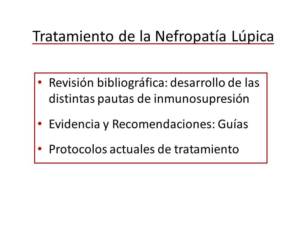 Tratamiento de la Nefropatía Lúpica Revisión bibliográfica: desarrollo de las distintas pautas de inmunosupresión Evidencia y Recomendaciones: Guías P