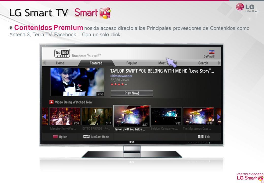 Contenidos Premium nos da acceso directo a los Principales proveedores de Contenidos como Antena 3, Terra TV, Facebook... Con un solo click.