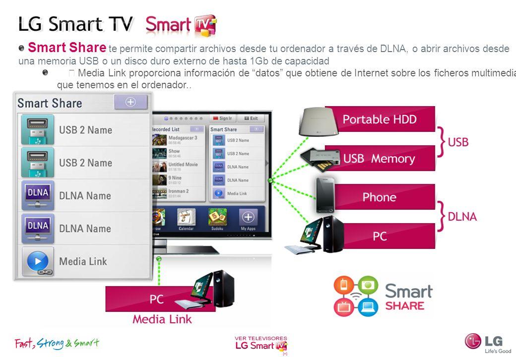 Smart Share te permite compartir archivos desde tu ordenador a través de DLNA, o abrir archivos desde una memoria USB o un disco duro externo de hasta
