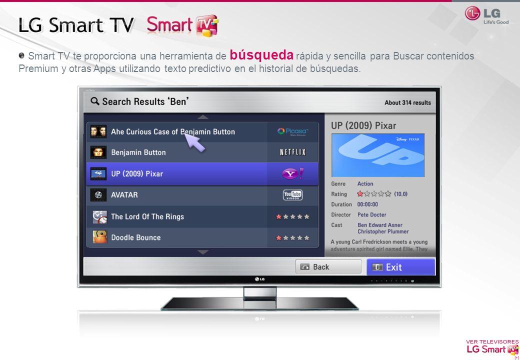 Smart TV te proporciona una herramienta de búsqueda rápida y sencilla para Buscar contenidos Premium y otras Apps utilizando texto predictivo en el hi