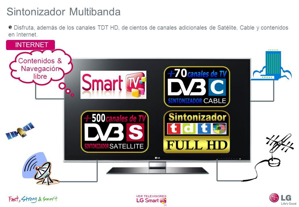 Sintonizador Multibanda Disfruta, además de los canales TDT HD, de cientos de canales adicionales de Satélite, Cable y contenidos en Internet. Conteni