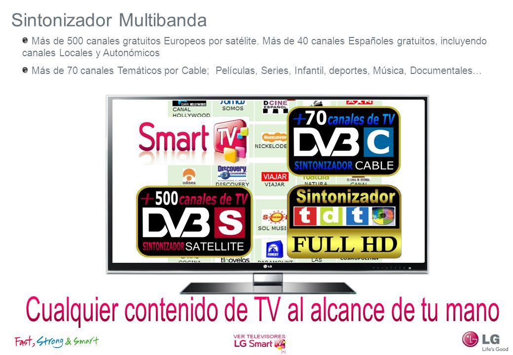 Sintonizador Multibanda Más de 500 canales gratuitos Europeos por satélite. Más de 40 canales Españoles gratuitos, incluyendo canales Locales y Autonó