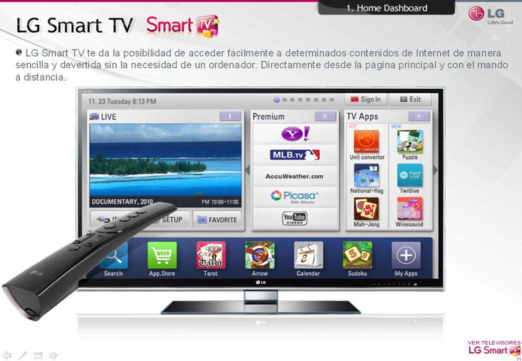 Las Secciones laterales, nos dan acceso a los 5 contenidos Premium Principales y a las Aplicaciones que ofrece de LG.