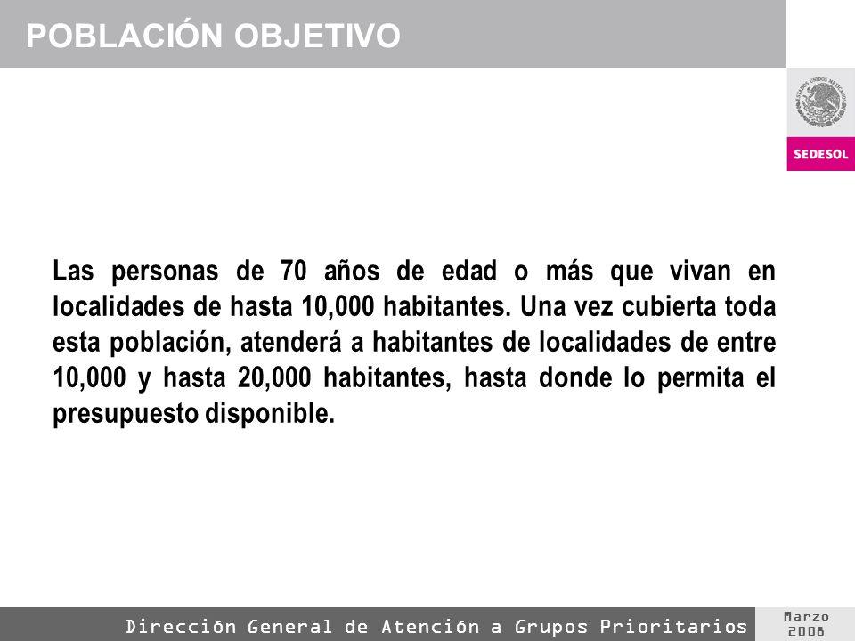 Marzo 2008 Dirección General de Atención a Grupos Prioritarios POBLACIÓN OBJETIVO Las personas de 70 años de edad o más que vivan en localidades de hasta 10,000 habitantes.