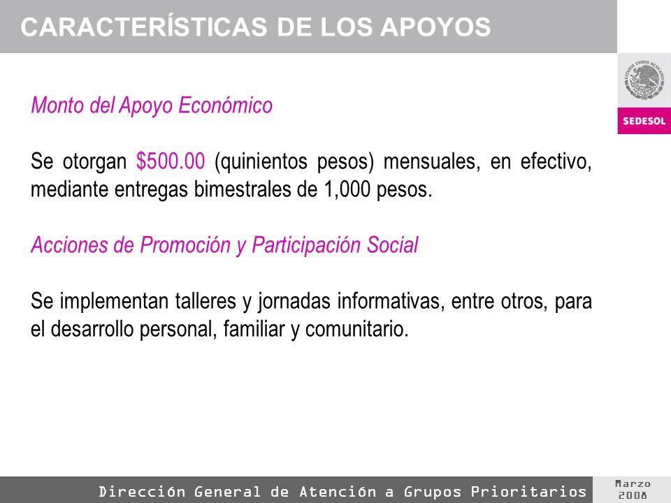 Marzo 2008 Dirección General de Atención a Grupos Prioritarios CARACTERÍSTICAS DE LOS APOYOS Monto del Apoyo Económico Se otorgan $500.00 (quinientos