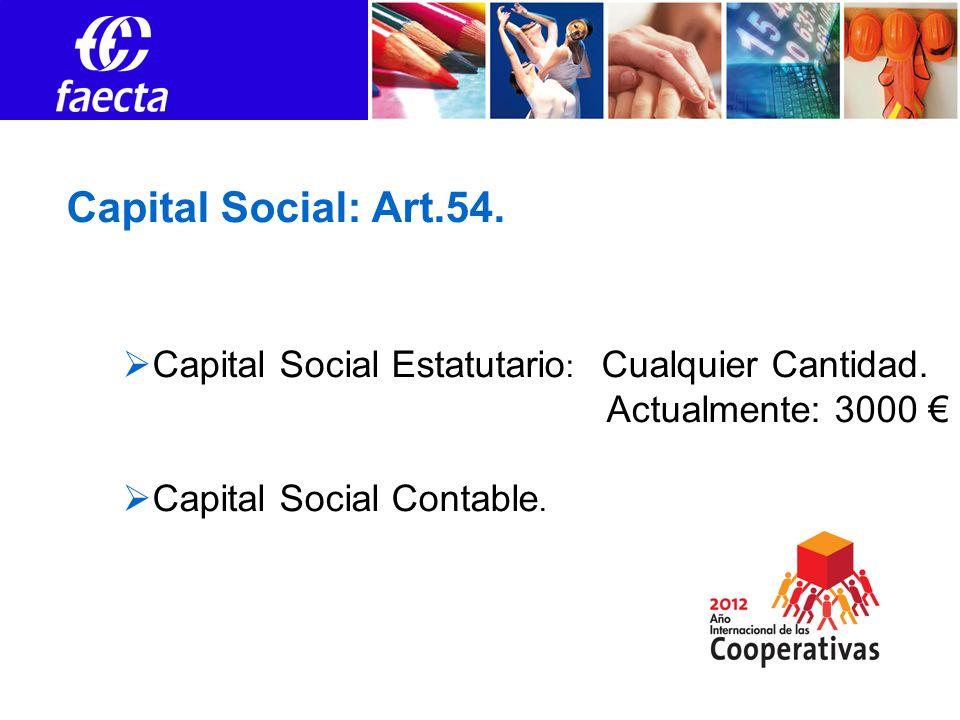 Capital Social: Art.54. Capital Social Estatutario : Cualquier Cantidad. Actualmente: 3000 Capital Social Contable.