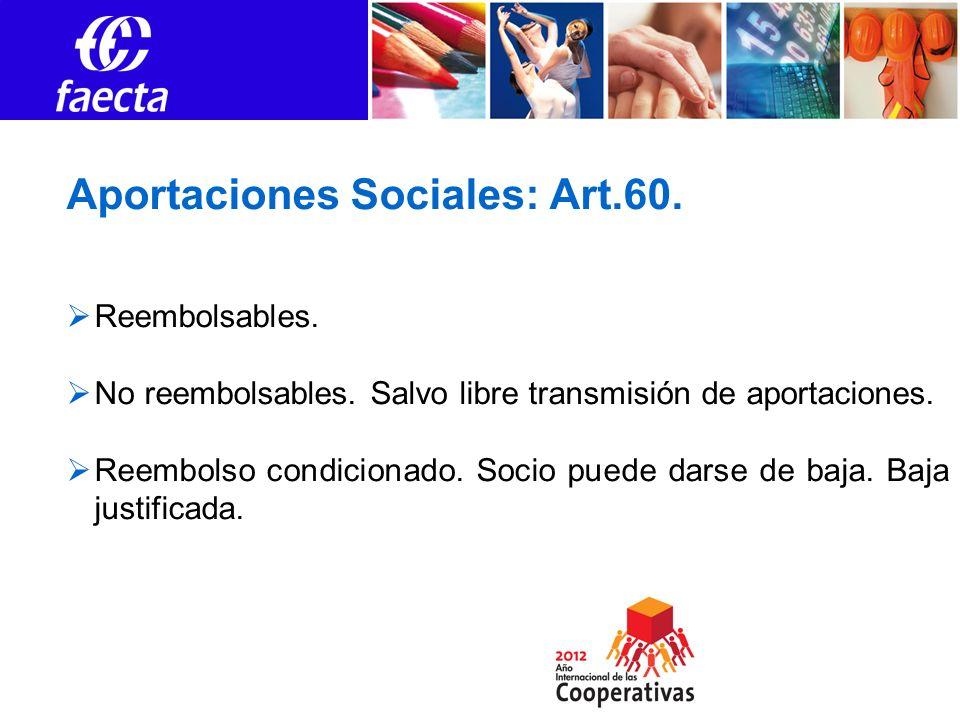 Aportaciones Sociales: Art.60. Reembolsables. No reembolsables. Salvo libre transmisión de aportaciones. Reembolso condicionado. Socio puede darse de