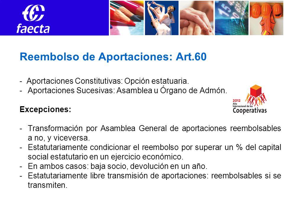 Reembolso de Aportaciones: Art.60 - Aportaciones Constitutivas: Opción estatuaria.