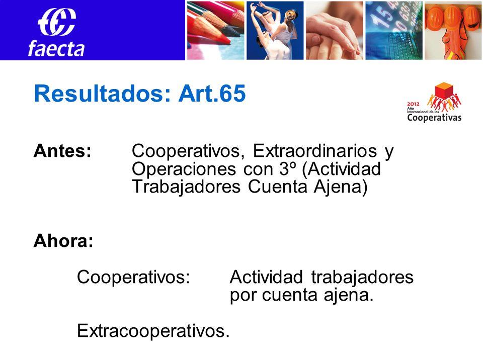 Resultados: Art.65 Antes: Cooperativos, Extraordinarios y Operaciones con 3º (Actividad Trabajadores Cuenta Ajena) Ahora: Cooperativos: Actividad trabajadores por cuenta ajena.