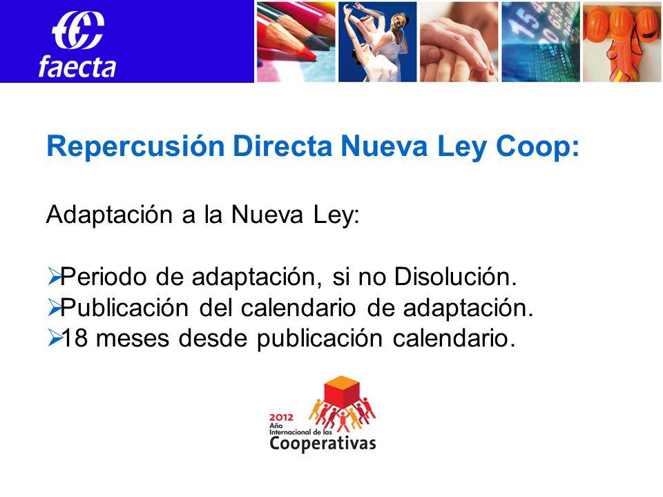 Repercusión Directa Nueva Ley Coop: Adaptación a la Nueva Ley: Periodo de adaptación, si no Disolución. Publicación del calendario de adaptación. 18 m